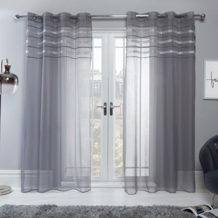 Sienna Latina Diamante Voile Net Curtains Eyelet, Charcoal Grey - 55