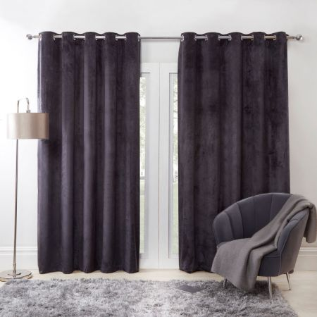 Camille Charcoal Supersoft Curtain